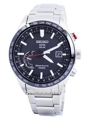 Seiko Sportura GPS Solar World Time Japan Made SSF003 SSF003J1 SSF003J Men's Watch
