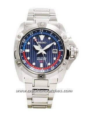 Seiko Velatura Kinetic GMT Stainless Steel Bracelet SUN011P1