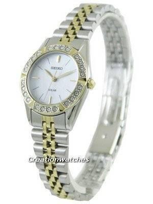 Seiko Solar Two Tone Swarovski Crystals SUP094P1 SUP094P Women's Watch
