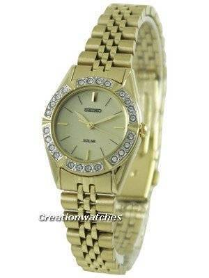 Seiko Solar Gold Tone Swarovski Crystals SUP096P1 SUP096P Women's Watch