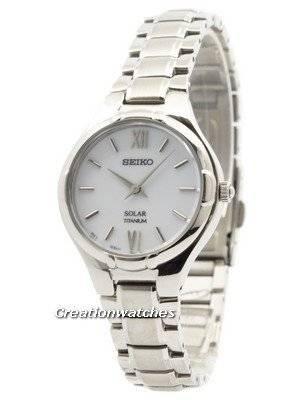 Seiko Solar Titanium White Dial SUP277 SUP277P1 SUP277P Women's Watch