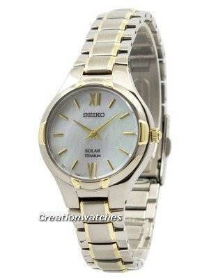 Seiko Solar Titanium Mother Of Pearl Dial SUP280 SUP280P1 SUP280P Women's Watch