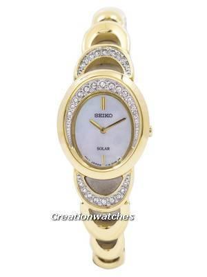 Seiko Solar Gold Tone Swarovski Crystals SUP298 SUP298P1 SUP298P Women's Watch