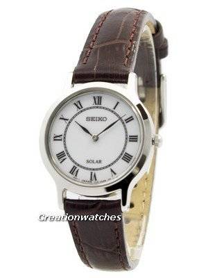Seiko Solar White Dial Leather Strap SUP303 SUP303P1 SUP303P Women's Watch