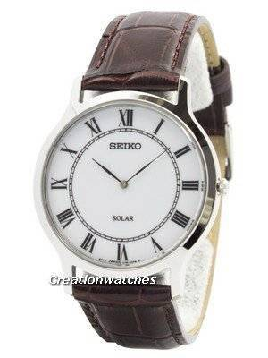 Seiko Solar White Dial Leather Strap SUP869 SUP869P1 SUP869P Men's Watch
