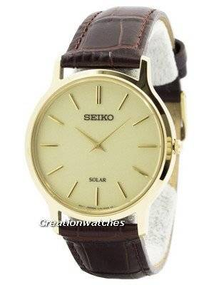 Seiko Solar Gold Tone Leather Strap SUP870 SUP870P1 SUP870P Men's Watch