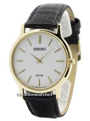 Seiko Solar White Dial Leather Strap SUP872 SUP872P1 SUP872P Men's Watch