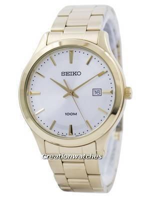 Seiko Quartz Gold Tone 100M SUR054 SUR054P1 SUR054P Men's Watch