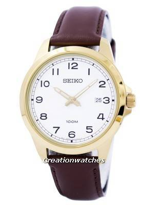Seiko Quartz White Dial Brown Leather SUR160 SUR160P1 SUR160P Men's Watch