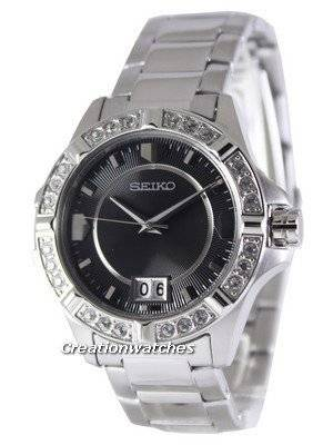 Seiko Quartz Crystals Black Dial SUR807 SUR807P1 SUR807P Women's Watch