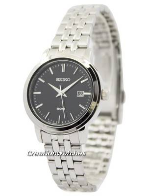 Seiko Quartz Stainless Steel Black Dial SUR827 SUR827P1 SUR827P Women's Watch