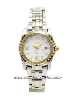 Seiko Ladies Two Tone White Dial SXDA06P1 SXDA06 with 16 Diamonds