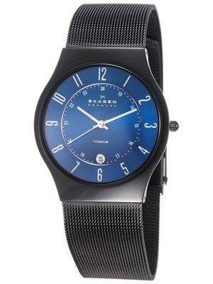 Skagen Titanium Marine Blue Dial Mesh Strap T233XLTMN Men's Watch