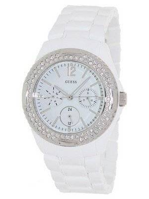 Guess Quartz Silver Tone White Plastic U0062L7 Women's Watch