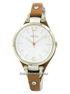 Refurbished Fossil Georgia White Dial Rose Gold Tone Brown Leather Strap ES3565 Women's Watch