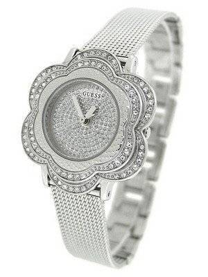Guess Silver Tone Floral Mesh U0139L1 Women's Watch