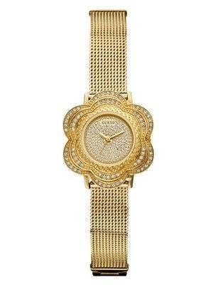 Guess Yellow Gold Tone Floral Mesh U0139L2 Women's Watch