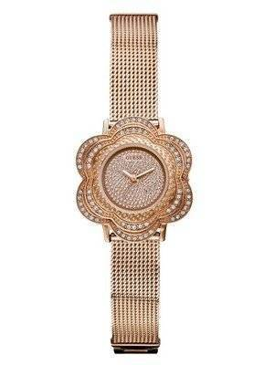 Guess Rose Gold Tone Floral Mesh U0139L3 Women's Watch