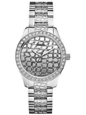 Guess Feminine Animal Crystals Silver Tone Quartz U0236L1 Women's Watch