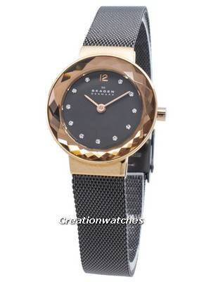 Refurbished Skagen Leonora Black Mother of Pearl Dial Charcoal IP 456SRM Women's Watch