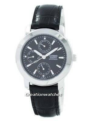 Refurbished Casio Enticer Quartz Multi Dial Leather Strap MTP-1192E-1ADF MTP-1192E-1A Men's Watch