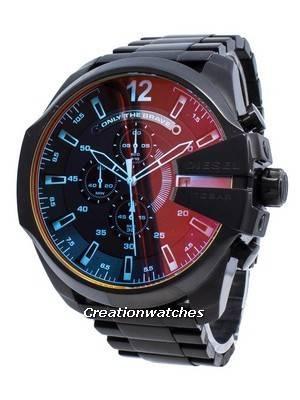 Refurbished Diesel Mega Chief black Ion Plated Brown Dial DZ4318 Men's Watch