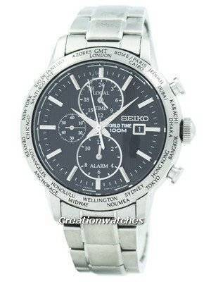 Refurbished Seiko Alarm Chronograph World Time SPL049 SPL049P1 SPL049P Men's Watch