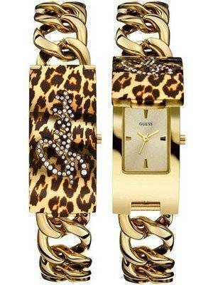 Guess Gold Tone Animal Print Bracelet Quartz W0321L5 Women's Watch