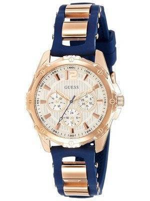 Guess Chronograph Rose Gold Plated Silicone Strap Quartz W0325L8 Women's Watch