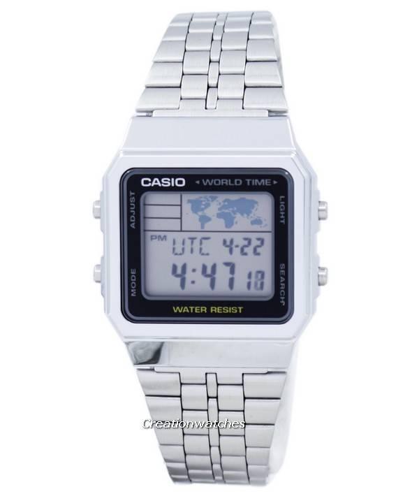 33b5b2cba8f 카시오 경보 세계 시간 디지털 A500WA-1DF 남자 시계 ko