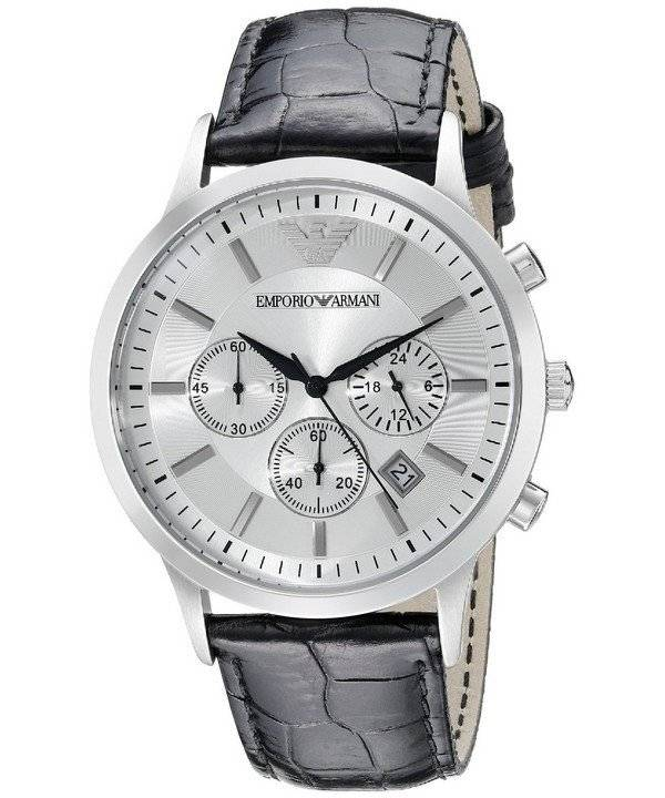 5d97319aa63 Relógio Emporio Armani cronógrafo clássico mostrador prateado AR2432  masculino