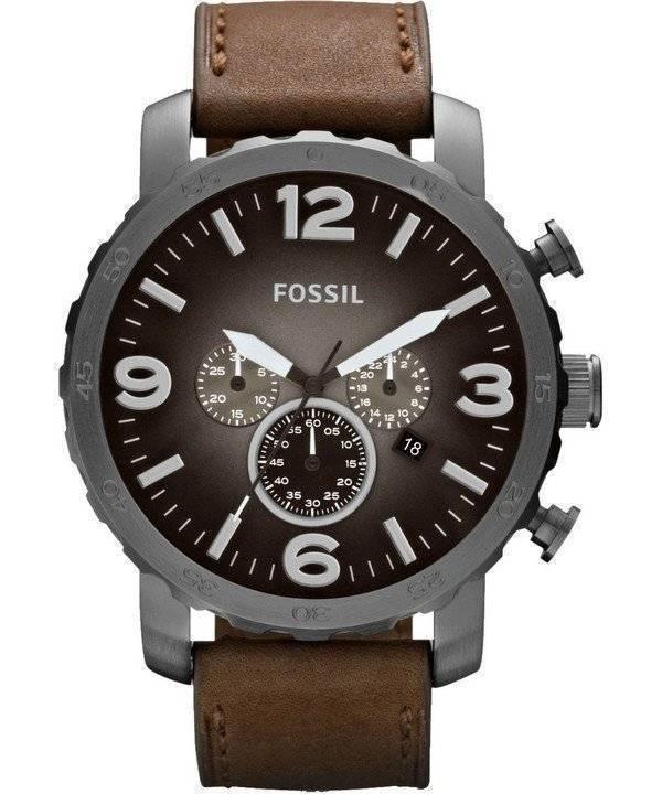 bfb0669c2e441 Fósseis relógio Nate Chronograph Quartz couro marrom Strap JR1424 masculino