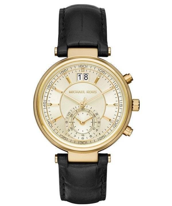 Relógio Michael Kors Sawyer Dial Champagne Data Display MK2433 feminino c2adac6b06