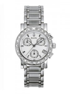 Bulova Diamond Chronograph 96R19 Womens Watch