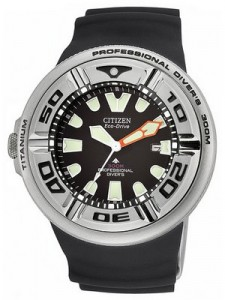 Citizen Eco-Drive Professional Divers BJ8050-08E BJ8050 Men's Black Rubber Strap Watch
