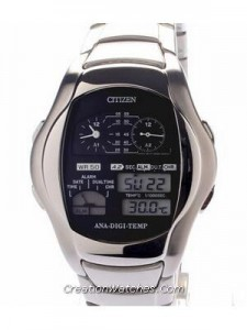 Citizen Ana-digi Thermometer Digital Dual Time Vintage JG2081-57