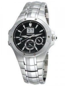Seiko Coutura Kinetic Perpetual Calendar SNP007P1 SNP007P SNP007 Steel Black Men's Watch