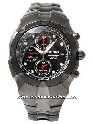 Seiko Chronograph Black Dial Alarm Chronograph Men's Watch SNA765P1 SNA765P SNA765