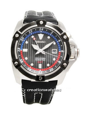 Seiko Velatura Kinetic GMT Black Leather Strap SUN013P1 SUN013P SUN013