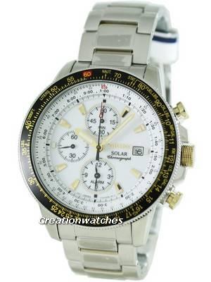 Seiko Pilot's Solar Alarm Chronograph Flightmaster SSC011P1 SSC011 SSC011P Mens Watch